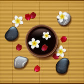 Spa background with tropical flowers and stone spa — Stock vektor