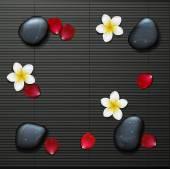 Спа фон с тропическими цветами и каменным спа — Cтоковый вектор
