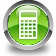 Calculator icon glossy green round button — Stock Photo #54663299