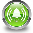 Alarm bell icon glossy green round button — Stock Photo #54664737