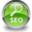 SEO (magnifying glass icon) glossy green round button — Stock Photo #54665589
