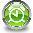Alarm clock icon glossy green round button — Stock Photo #54667297