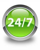 24 by 7 icon glossy green round button — Stock Photo