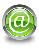 Email address icon glossy green round button — Stock Photo