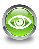 Eye icon glossy green round button — Stock Photo