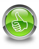 Like icon glossy green round button — Stock Photo