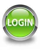 Login glossy green round button — Stock Photo