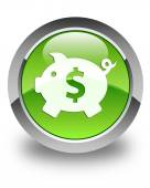 Money box (dollar) icon glossy green round button — Stock Photo