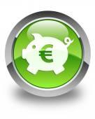 Money box (euro) icon glossy green round button — Stock Photo