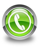 Phone icon glossy green round button — Stock Photo