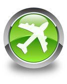 Botón redondo verde brillante del avión icono — Foto de Stock