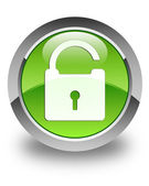 Unlock icon glossy green round button — Stock Photo