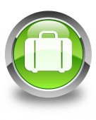 Bag icon glossy green round button — Stock Photo