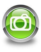 Camera icon glossy green round button — Stock Photo