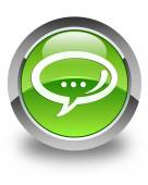 Chat icon glossy green round button — Stock Photo