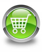 Ecommerce icon glossy green round button — 图库照片