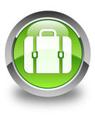 Financial bag icon glossy green round button — Stock Photo