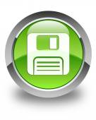 Floppy disk icon glossy green round button — Stock Photo