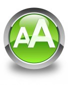 Font size icon glossy green round button — Stock Photo