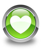 Heart icon glossy green round button — Stock Photo
