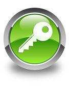 Key icon glossy green round button — Stock Photo