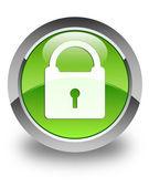 Padlock icon glossy green round button — Stock Photo