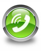 Phone ringing icon glossy green round button — Stock Photo