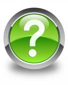 Question mark icon glossy green round button — Stock Photo