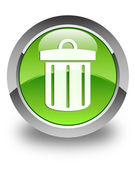 Recycle bin icon glossy green round button — Stock Photo