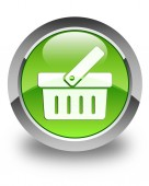 Shopping cart icon glossy green round button — Stock Photo