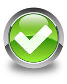 Validate icon glossy green round button — Stock Photo