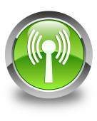 Wlan network icon glossy green round button — Stock Photo