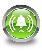 Alarm zili simgesi parlak yeşil düğmesi — Stok fotoğraf