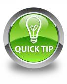 Quick tip (bulb icon) glossy green round button — Stock Photo