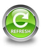 Refresh (rotate icon) glossy green round button — Stock Photo