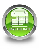 Save the date glossy green round button — Stock Photo