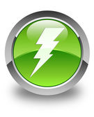 Electricity icon glossy green round button — Stock Photo
