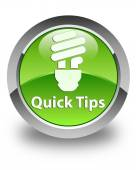 Quick tips (bulb icon) glossy green round button — Stock Photo