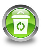 Trash icon glossy green round button — Stock Photo