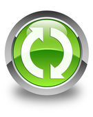 Update icon glossy green round button — Stock Photo