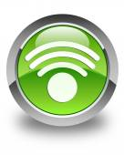 Wifi signal icon glossy green round button — Stock Photo