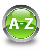 A to Z glossy green round button — Stock Photo