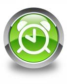 Alarm clock icon glossy green round button — Zdjęcie stockowe