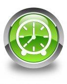 Clock icon glossy green round button — Stock Photo