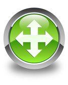 Move icon glossy green round button — Stock Photo