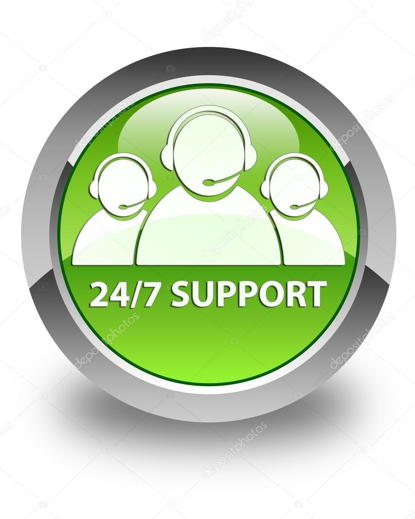 24 由 7 上光鲜亮丽的绿色圆形按钮支持 (客户服务团队图标)— photo