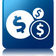 Finances dollar icon glossy blue reflected square button — Stock Photo #56448953