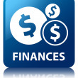 Finances (dollar icon) glossy blue reflected square button — Stock Photo #56448955