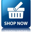 Shop now glossy blue reflected square button — Stock Photo #56449119