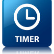 Timer clock glossy blue reflected square button — Stock Photo #56449817